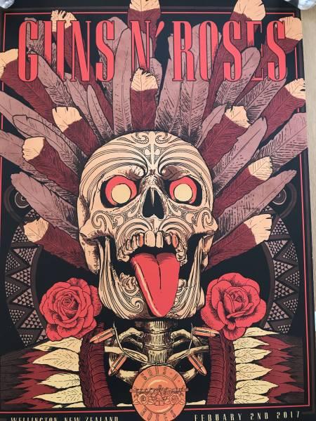 レア!セールGuns N' Roses ウェリントン限定リトグラフ Axl Rose Slash Duff ガンズ アンドローゼズポスターTシャツツアースラッシュ
