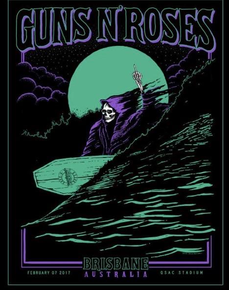 レア!セールGuns N' Roses ブリスベン 限定リトグラフ Axl Rose Slash Duff ガンズ アンドローゼズポスターTシャツツアーアクセルローズ