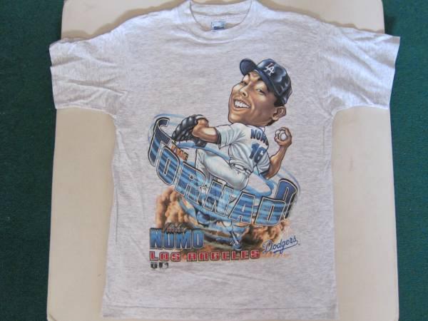 野茂 Tシャツ M   LA ドジャース 野茂英雄 トルネード MLB メジャーリーグ SALEM SPORTSWEAR NOMO アメリカ製 グレー グッズの画像
