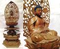 釈迦如来 阿弥陀 観音 白檀 香木 彩色 截金 木彫 仏像 木造 仏教美術 高36cm