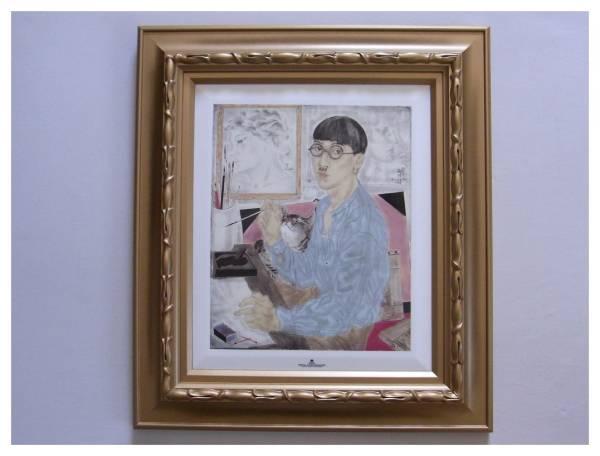 藤田嗣治 レオナール・フジタ 「Self-Portrait」 陶板画 ロイヤルコペンハーゲン リミテッドエディション 45/100猫