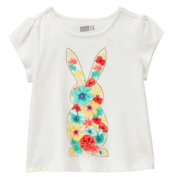 新品タグ付き 【 Crazy 8 】 コットンTシャツ 110cm 「5T 」 Gymboree ジンボリー姉妹ブランドクレイジー8 最終値下げ US_カラフルな花でデザインされたバニー