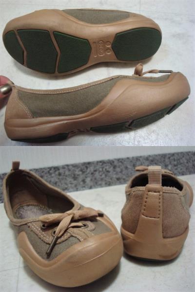数回使用 crocs クロックス スエード×キャンバス系 ぺたんこ靴 パンプス スニーカー スリッポン W5 22.0cm Sサイズ 35 ベージュ カーキ_画像3
