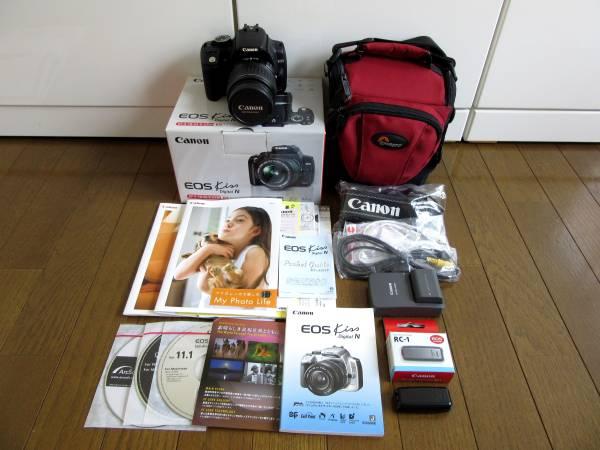超美品!Canon キャノン EOS Kiss Digital N ★フルセット+リモコン+CFアダプター+マイクロSD+ショルダーケース