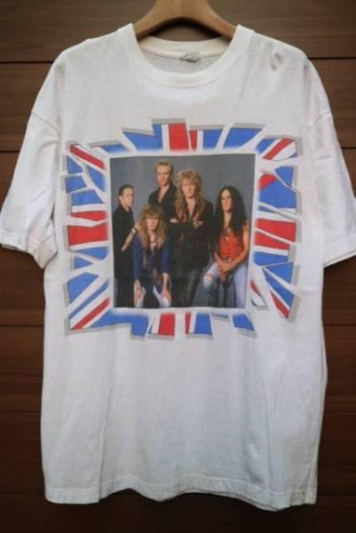 90S DEF LEPPARD バンドTシャツ ビンテージ ハードロック IRON MAIDEN SAXON NWOBHM WHT