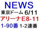 NEWS 東京ドーム 6/11 アリーナE8-11 1-90