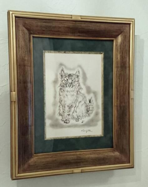 ★藤田嗣治 「猫」オリジナルリトグラフ(石版画) 自筆鉛筆サイン入 1950年代作 高級木製額縁付