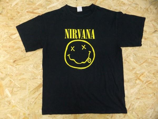 NIRVANA ニルヴァーナ 定番 スマイルマーク アイコン Tシャツ ロック グランジ 黒 L