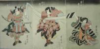 /HANA/本物 浮世絵 役者絵 三枚続 岩井粂三郎・市川團十郎・坂東三津五郎 豊国画!