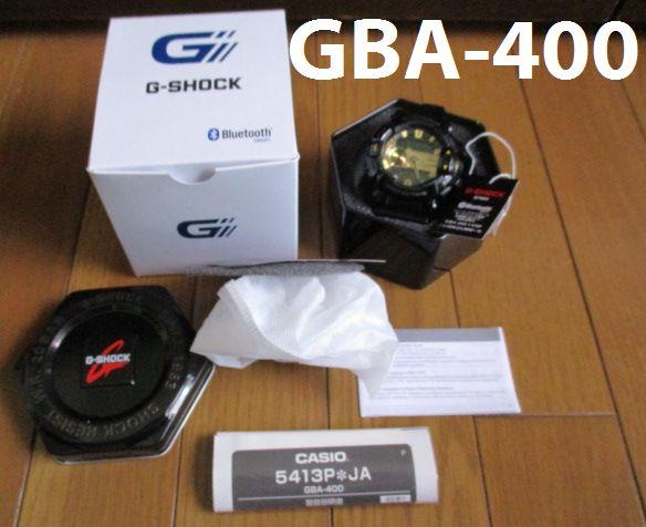 人気の黒金 CASIO G-SHOCK GBA 400 bluetooth カシオ Gショック アナデジ G'MIX 腕時計 箱説付き
