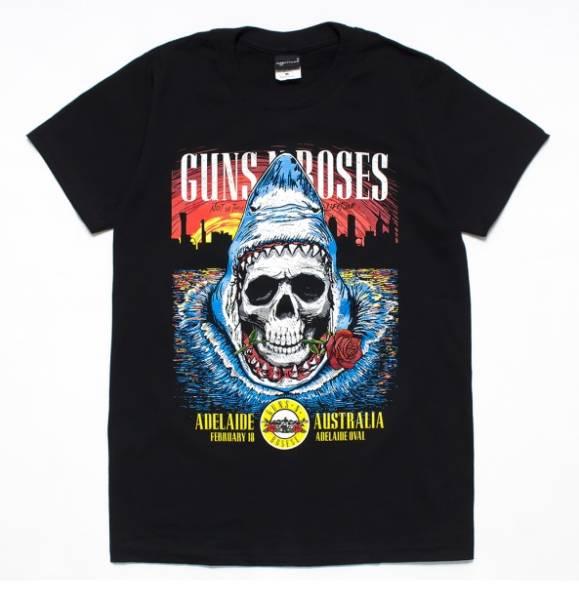 バンドTシャツ 【 ガンズ アンド ローゼズ L オーストラリア / ツアーT 】 送料無料 ★ ロックT / 黒 / Guns N' Roses / 新品 / 4TB070