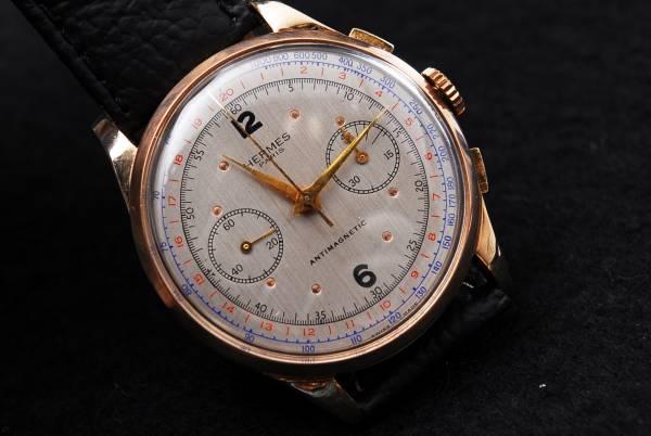 エルメス Hermes ビンテージ 18K フルサイズ クロノグラフ手巻時計 185302