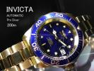 【1円】INVICTAインヴィクタ自動巻きProDiverダイバー腕時計メンズ逆輸入モデル新品未使用200m防水ゴールド日本未発売アナログメタルバンド