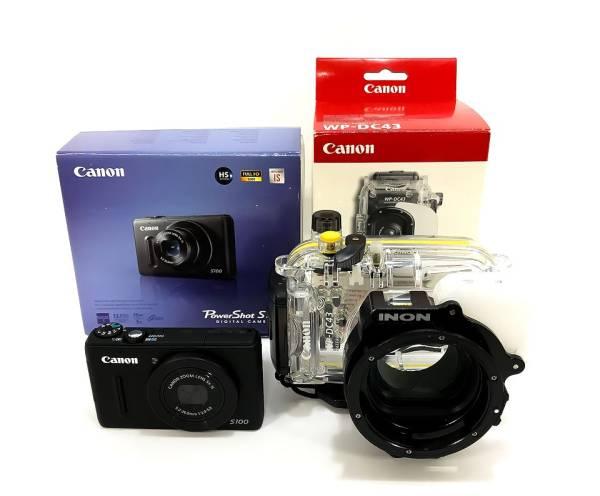 Canon★PowerShot [パワーショット] S100/WP-DC43 ウォータープルーフケース+INON 28LDマウントベース・DC43+SDカード 2GB付★中古/良品