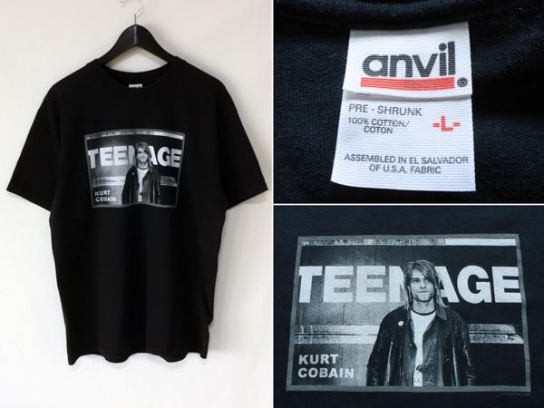 2002年 anvil カートコバーン Tシャツ 黒 L / バンT ロックT giant ニルバーナ ビンテージ
