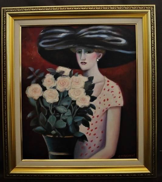 ■J・P・カシニョール ■ 《 Roses blanches》白バラと婦人 ■ 油彩画・10号