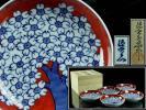 ◆廻◆ 館林源右衛門作 赤濃桜図 銘々皿 五客揃い 14cm 共箱 [O203.2]OS2