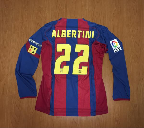 選手支給 長袖 新品未使用 #22 アルベルティーニ FCバルセロナ ワンマッチ?限定ユニフォーム グッズの画像
