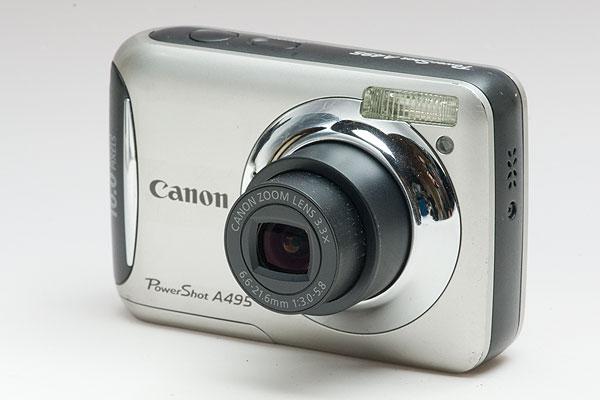 単三デジカメ Canon PowerShot A495 シルバー 日付データ電池交換済
