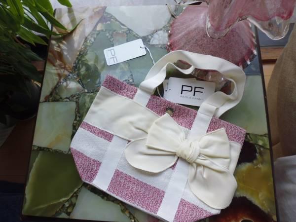 新品未使用値札付★イタリア製 PAOLA FRANIトートバッグ★リボン付布鞄 半額以下!14000円 1点もの