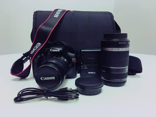 中古 Canon デジタル一眼レフカメラ EOS Kiss X50 望遠ズームレンズ EF-S55-250mm付属