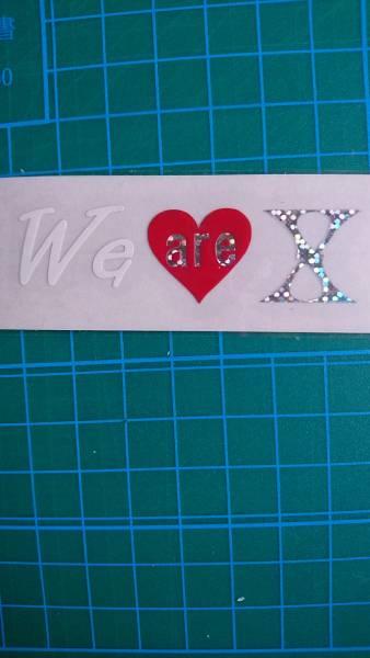 X JAPAN we are X  オリジナル切り文字ステッカー ホログラムドットと艶白 約横6.5cm縦2cm XJAPAN スマホ等にも