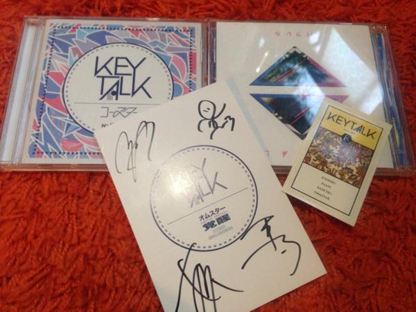 KEYTALK キートーク メンバー全員直筆サイン入りポストカード 通常盤CD『コースター』、初回限定盤CD+DVD『パラレル』ステッカー のセット ライブグッズの画像