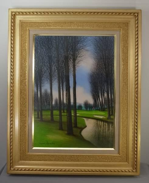 ジャック・デペルト 油彩8号「川のほとりのグリーン」