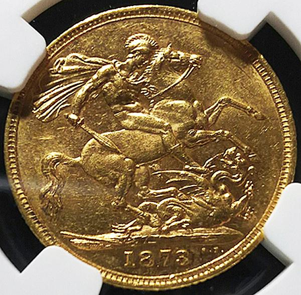 特年MS61! 豪 1873年S ソブリン金貨 NGC 歴代次点グレード_画像2