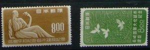 【記念切手】広島平和記念都市建設 長崎国際文化都市建設 二枚組1949.8.6,9