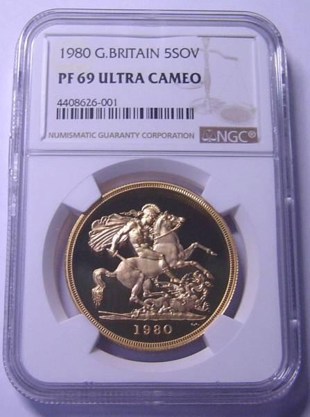 最落無 イギリス 1980年 ヤング エリザベス 5ポンド金貨 NGC PF69UC