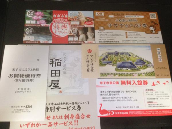 ミニレター送料無料◆鳥取県米子市 ふるさと納税 特典チケット 6種◆