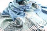 極上 パシュミナ100% 中薄手 ペイズリー柄ミックス 大判 ストール ターコイズブルー系 ホワイト グレー 冷房対策・日焼け対策