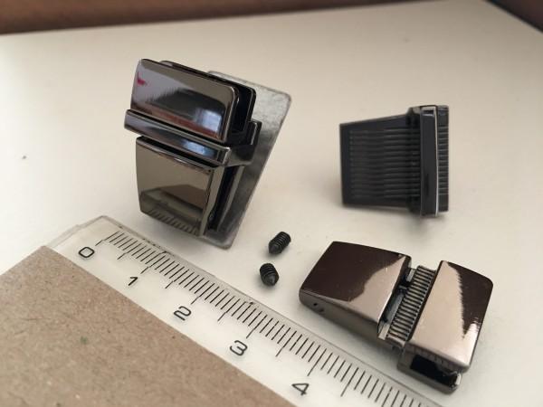 JK20B☆レザークラフト差し込み錠金具 約20×25mm黒ニッケル色/1組_画像2
