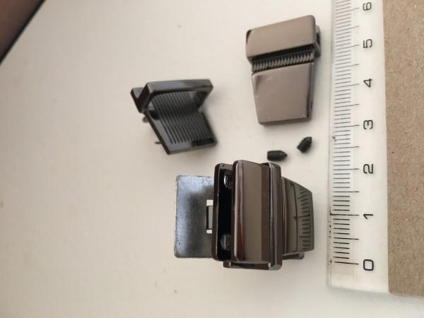 JK20B☆レザークラフト差し込み錠金具 約20×25mm黒ニッケル色/1組_画像3