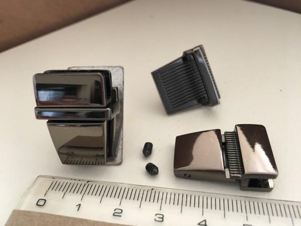 JK20B☆レザークラフト差し込み錠金具 約20×25mm黒ニッケル色/1組_画像1