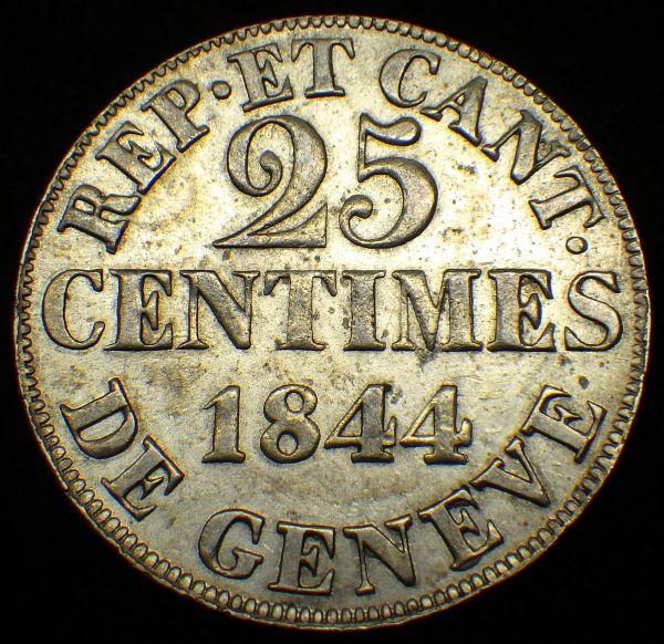 1844年 スイス ジュネーブ 25サンチーム銀貨 鷲と鍵 美品~_画像2