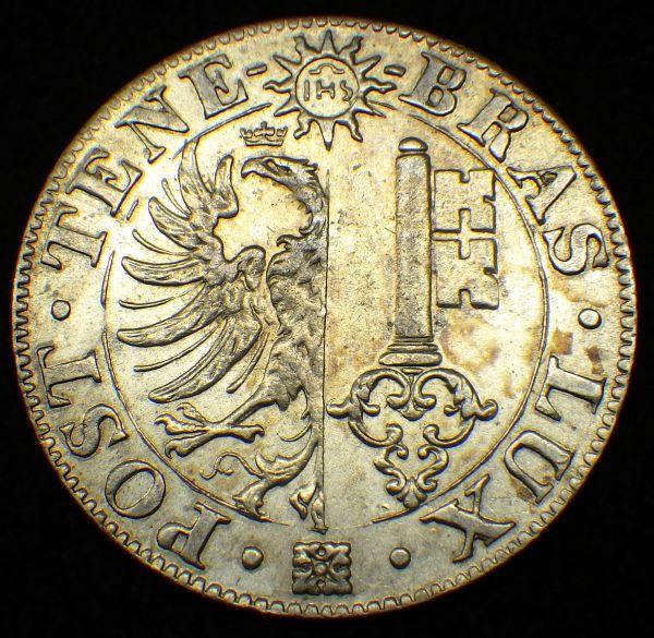 1844年 スイス ジュネーブ 25サンチーム銀貨 鷲と鍵 美品~