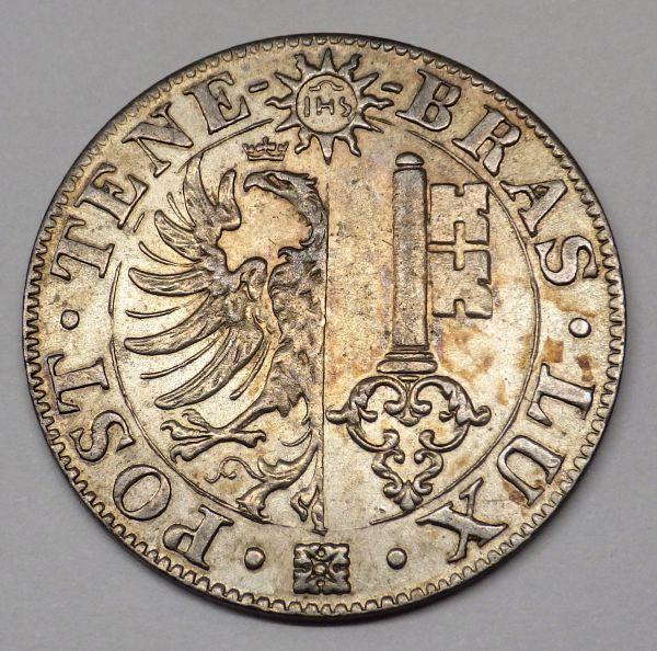 1844年 スイス ジュネーブ 25サンチーム銀貨 鷲と鍵 美品~_画像3