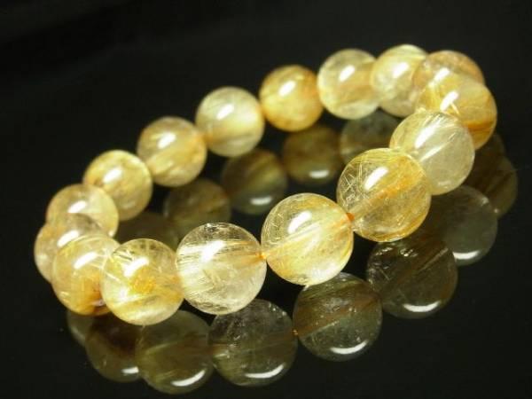 おすすめの一品!ゴールドルチルクォーツブレスレット 金針水晶数珠 13mm玉