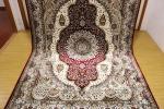 高級天然シルク100% ペルシャ柄絨毯 新品未使用 157×247 訳あり アウトレット 赤