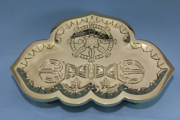 金剛盤★別上品★大型★237×165×42㎜★密教法具★「京美」作★総彫り真鍮製