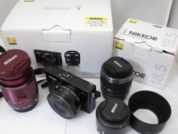 316☆Nikon/ニコン 1 J4 1 NIKKOR 10-30 VR/10-100mm 4-5.6/18.5mm 1:1.8/30-110mm 3.8-5.6 ジャンク扱い