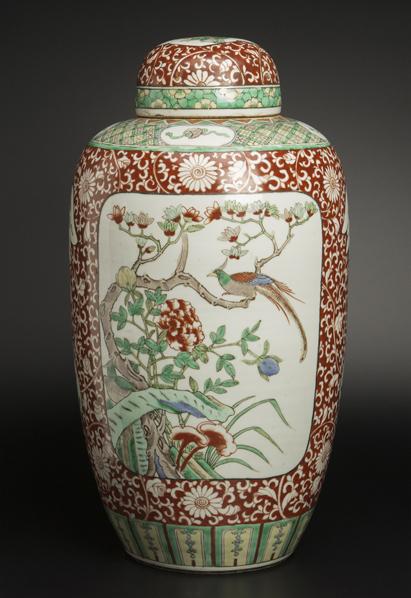 清 五彩開光花鳥紋蓋瓶 中国 古美術_画像1