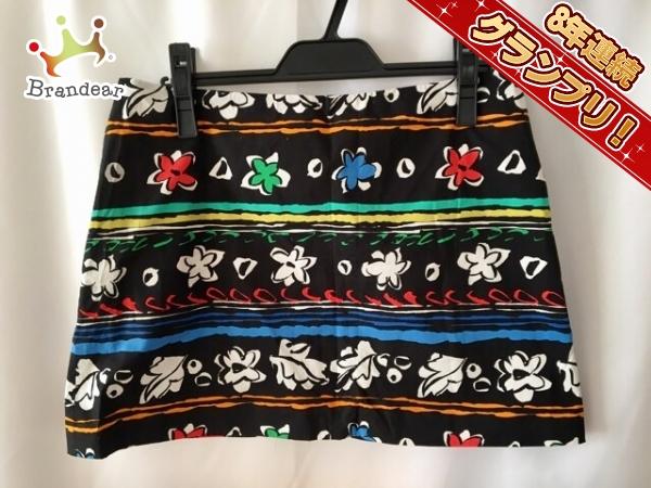 プラダ ミニスカート 40 レディース 黒×白×マルチ 花柄 PRADA
