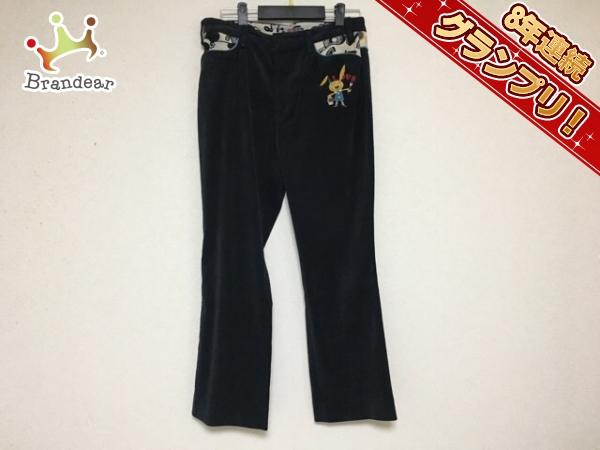 アルベロベロ パンツ サイズL レディース 黒×白×マルチ 刺繍