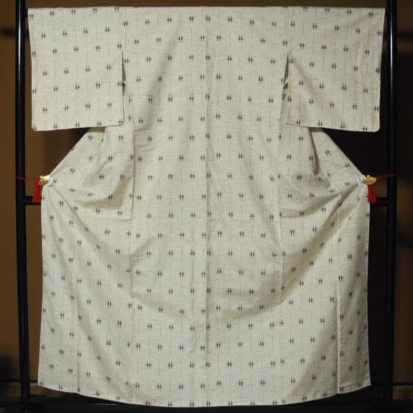 正絹 新品・未使用 伝統的工芸品 ぜんまい紬 根津儀一 仕付け糸付き ガード加工 美品 -袷-_画像1