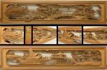 □古城□越中井波彫刻・栄二郎作 細密木彫 近江八景図 欄間一対