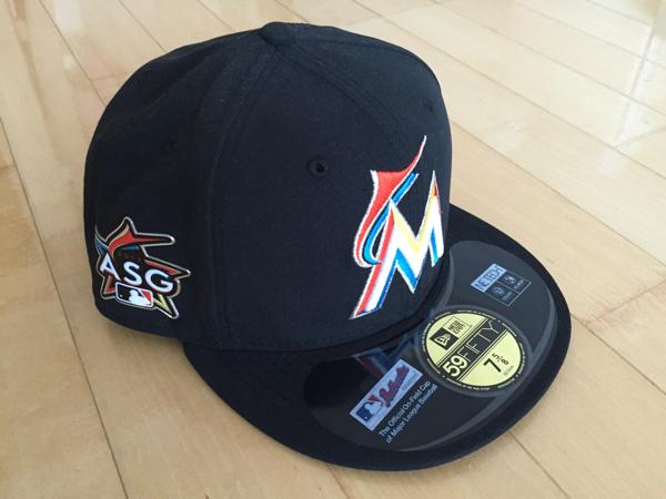 マイアミマーリンズ MIAMI MARLINS 2017 公式 On-Field Cap 帽子 オールスター サイズ 7 5/8 新品 ASGロゴ入り 限定品 イチロー グッズの画像