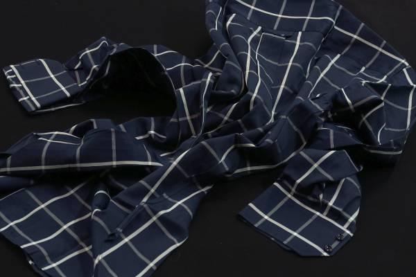 ★イタリアシャツ ドゥエボットーニ DANROMA SPORTIVO ESCLUSIVE 最高傑作!ネイビーに大胆白チェック L 42-93_画像3